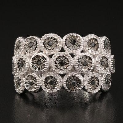 Sterling Silver Multi-Row Diamond Ring