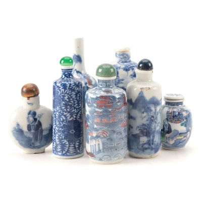 Chinese Hand-Painted Blue and White Porcelain and Ceramic Snuff Bottles