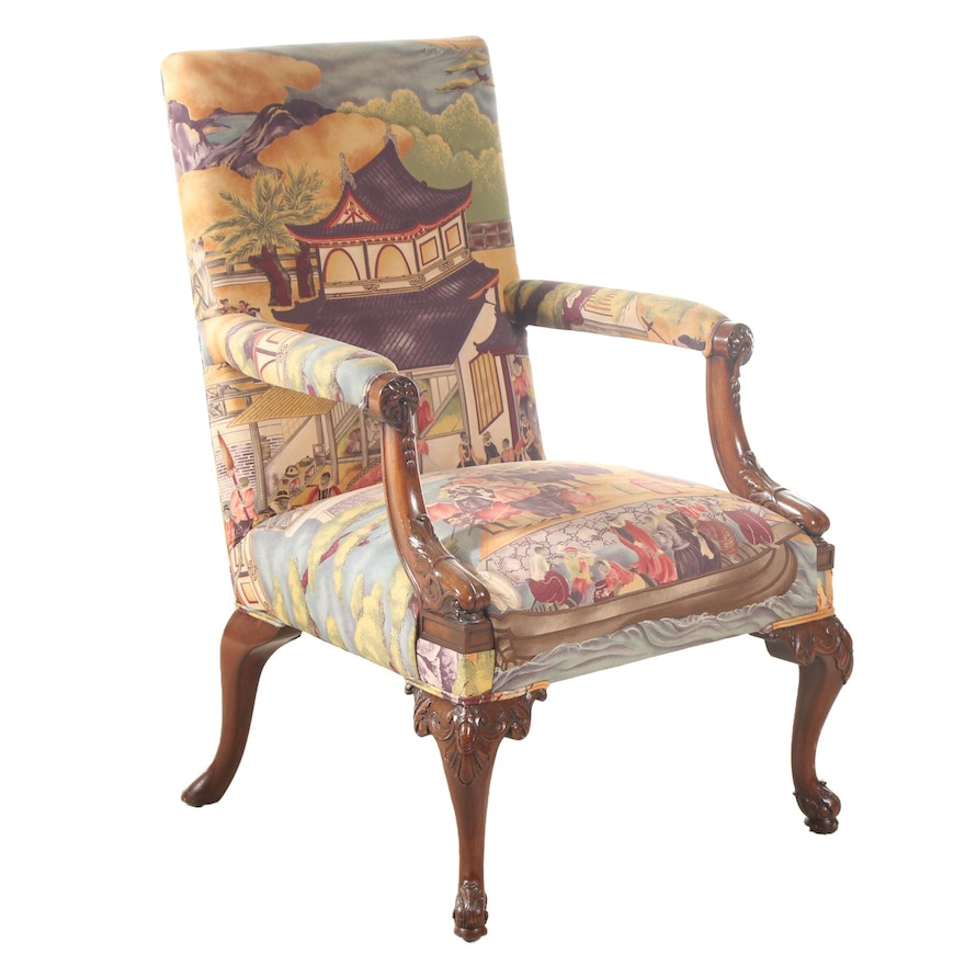 George III Style Carved Mahogany Armchair, Late 20th Century