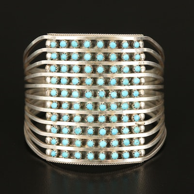 Signed Sterling Turquoise Petit Point Cuff