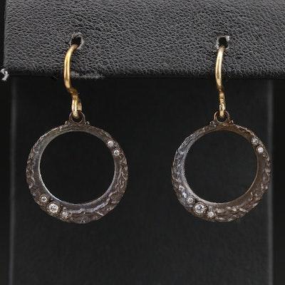 Diamond Drop Hoop Earrings
