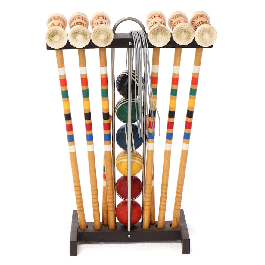 Six Player Croquet Equipment Set, Mid to Late 20th Century