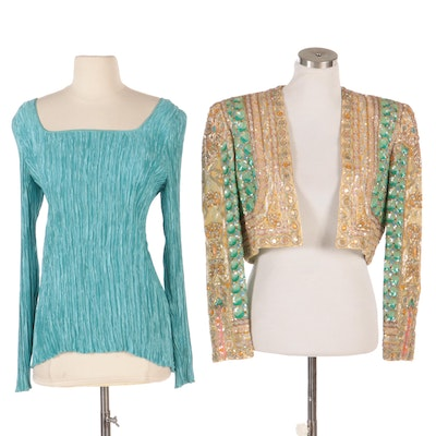 Mary McFadden Couture Evening Jacket and Long Sleeve Pleated Charmeuse Top