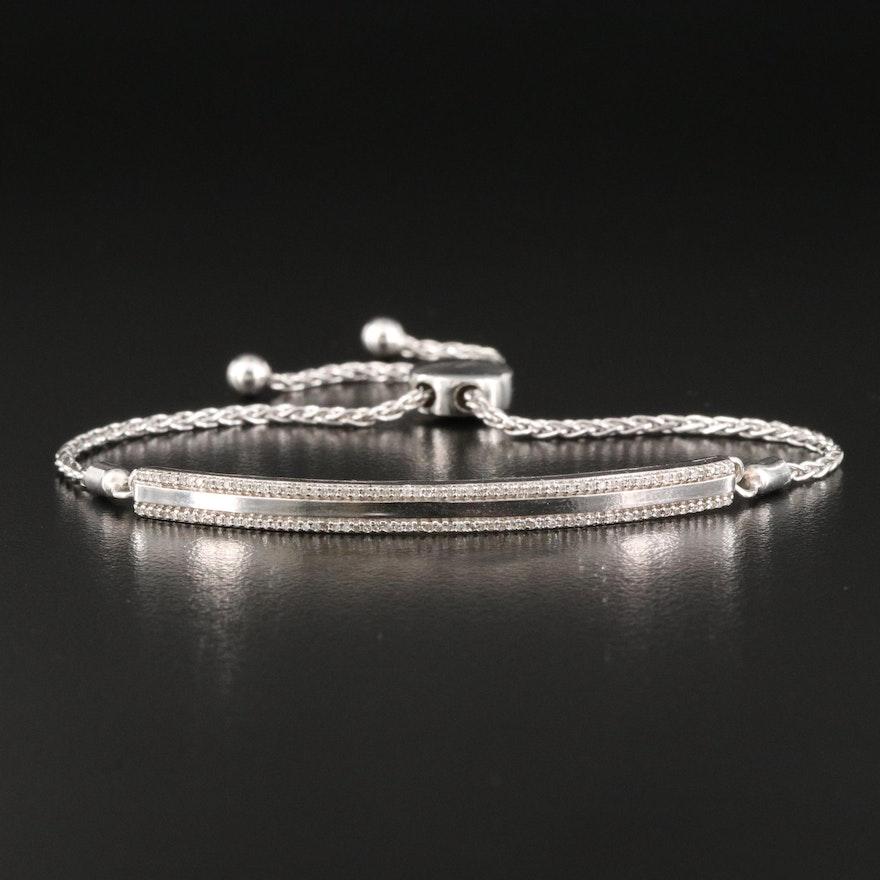 Sterling Diamond Bar Pull Through Bracelet