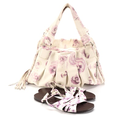 Cole Haan Handbag in Floral Print Leather with Sandals signed by Diane Ladd