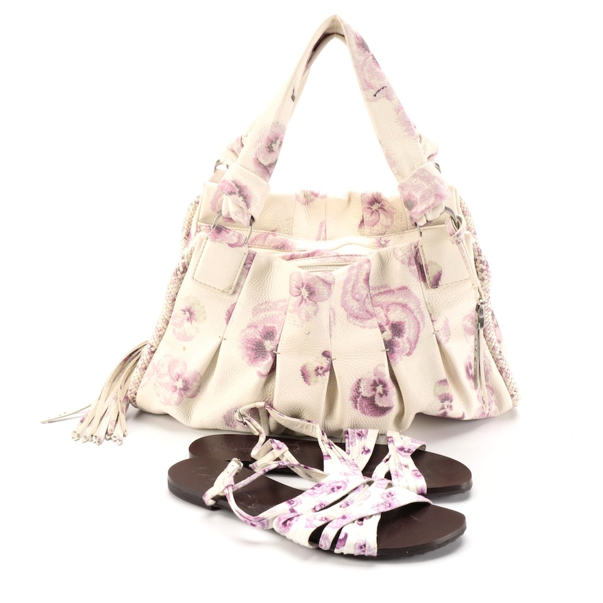 Cole Haan Handbag in Floral Print Leather Signed by Diane Ladd with Sandals