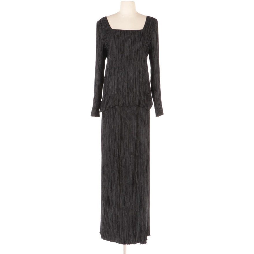 Mary McFadden Couture Black Plissé Pleated Evening Skirt Set