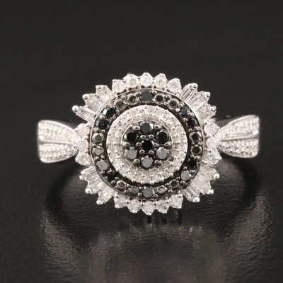 Sterling Diamond Ring with Reverse Tapered Shoulders