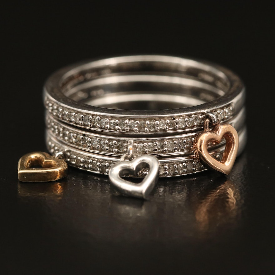 Sterling Diamond Stacking Heart Charm Rings with 10K Accents