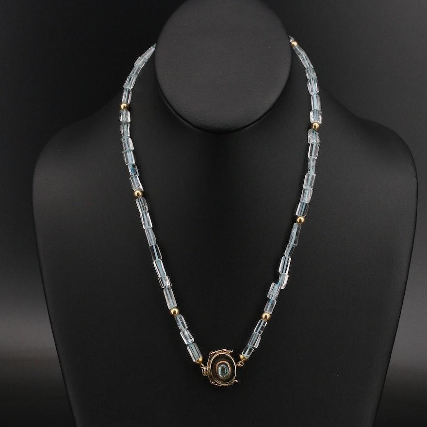 18K Topaz and Aquamarine Necklace