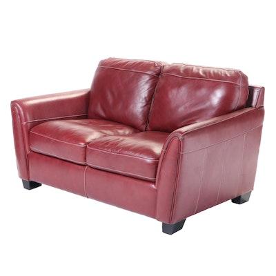 Shanghai Trayton Furniture Co. Red Bonded Leather Loveseat