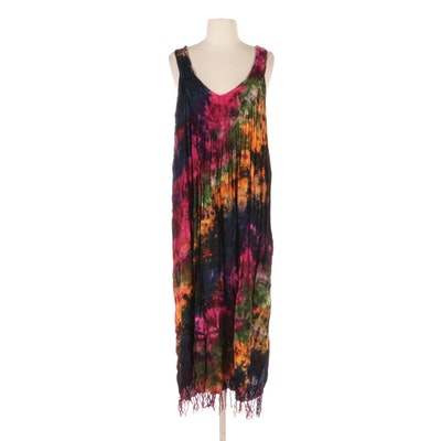 Jata California Tie-Dyed Sleeveless Dress with Hand-Knotted Fringe Hem