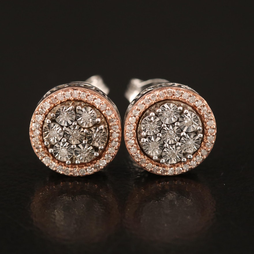 Sterling Diamond Stud Earrings with 10K Rose Gold Accents