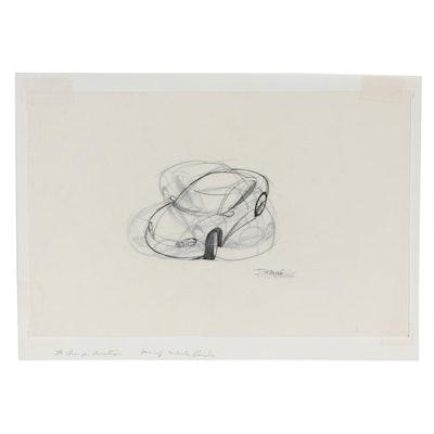 Jeff Rauf Graphite Illustrations of Dodge Neons, Late 20th Century