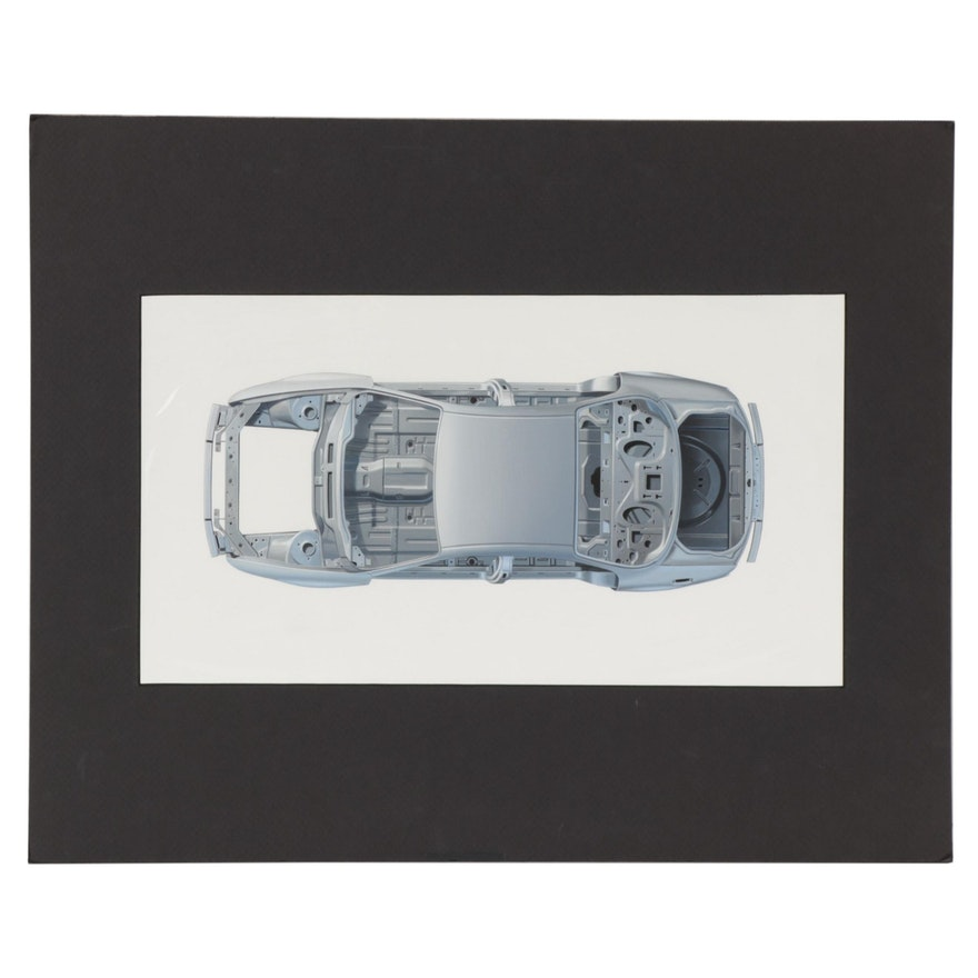 John Ball Gouache Illustration of Pontiac Grand AM Car Body