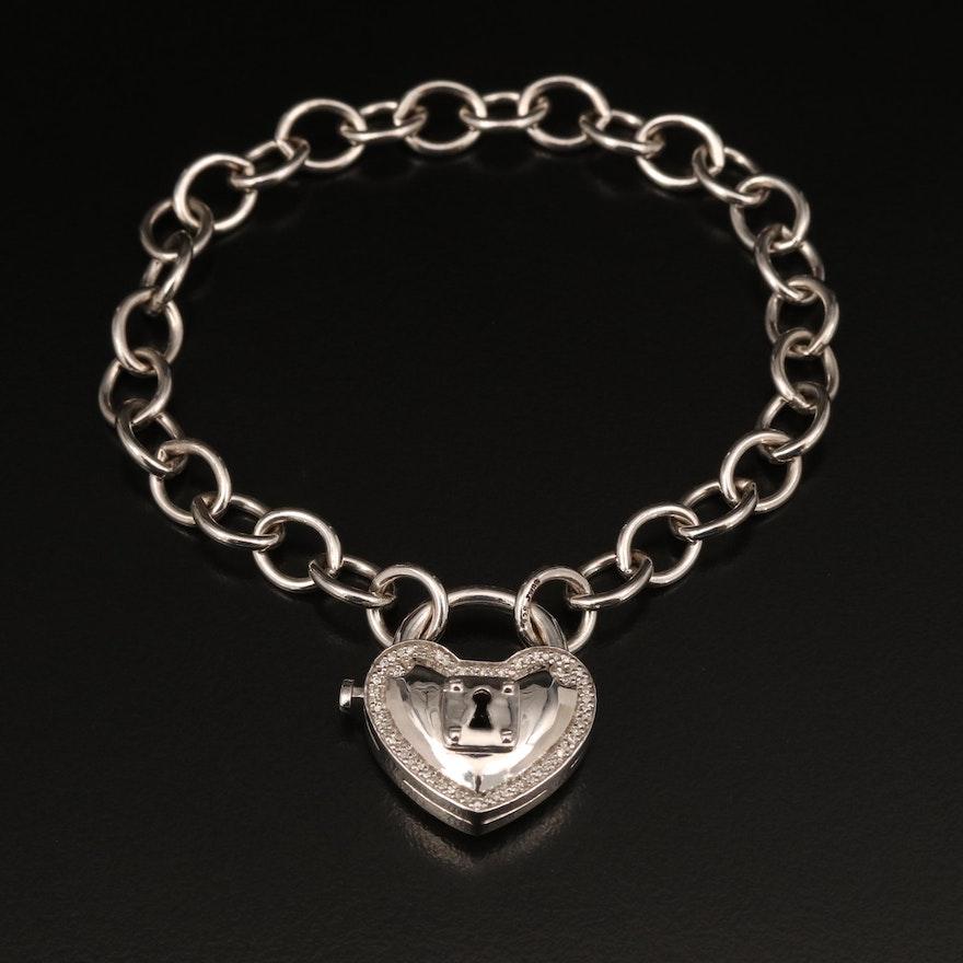 Sterling Diamond Heart Lock Clasp on Cable Bracelet