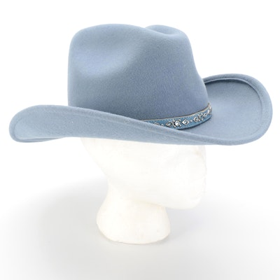 Scala Western Style Light Blue Felted Wool Hat Signed by Diane Ladd