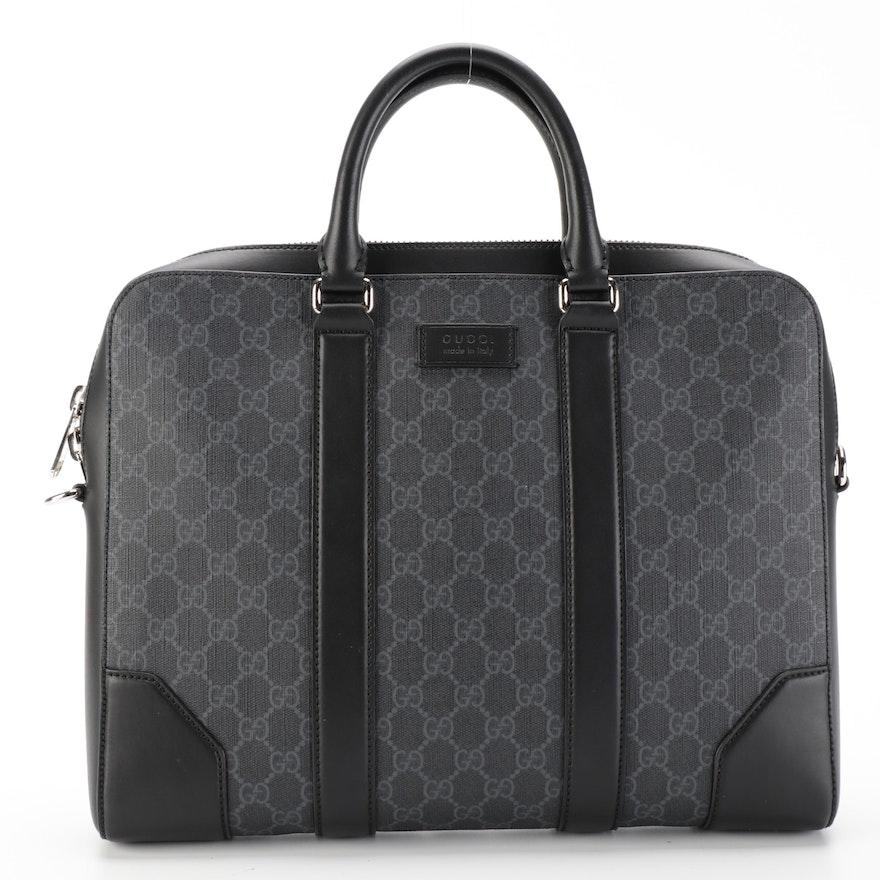 Gucci GG Black Briefcase in Black/Grey GG Supreme Canvas and Leather