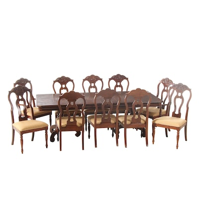 Classical Style Hardwood Extension Dining Room Table and Ten Chairs