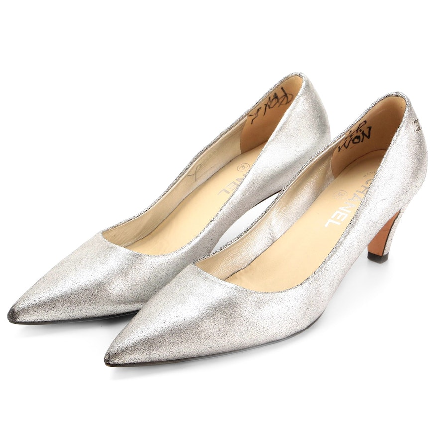 Chanel Silver Metallic Leather Pointed Toe Pumps