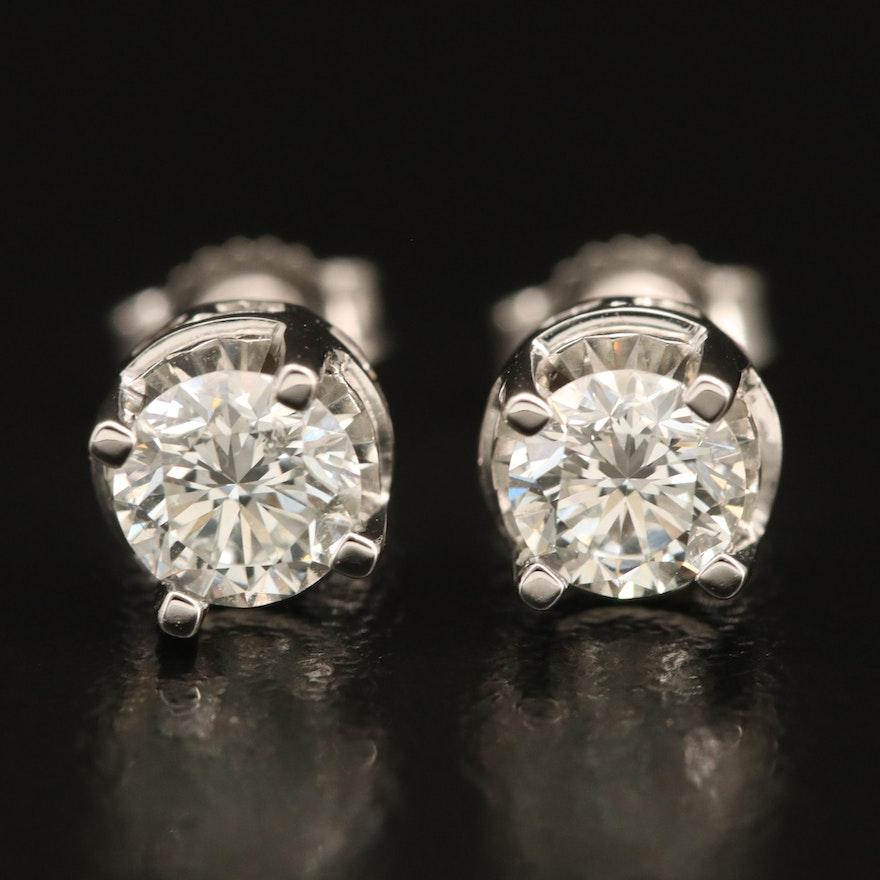 14K Diamond Solitaire Stud Earrings