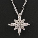 Sterling Silver Diamond Starburst Slide Pendant Necklace