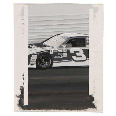 John Ball Gouache Illustration of Dale Earnhardt #3 NASCAR Race Car
