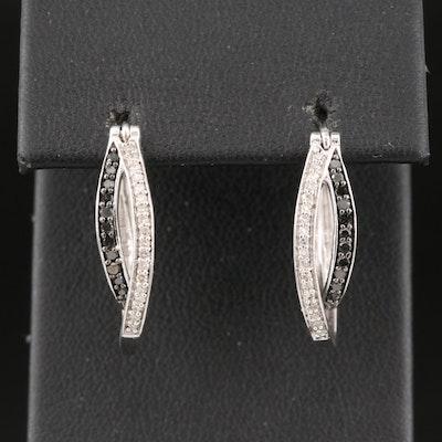 Sterling Silver Diamond Double Oval Hoop Earrings