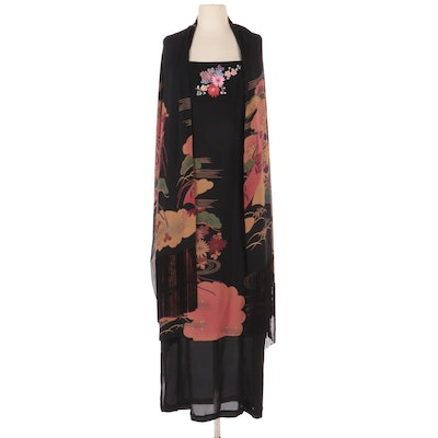 Sue Wong Japanese Inspired Blossom and Pine Embroidered Maxi Dress with Shawl