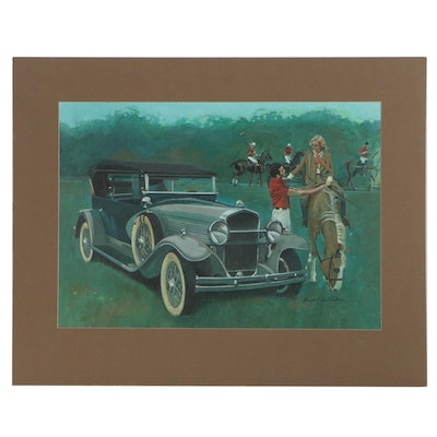 Dave VanVoorhis Acrylic Painting of Polo Match with Classic Car
