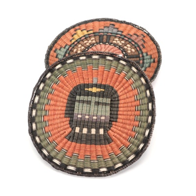 Hopi Wicker Plaques Including Pictorial Kachina Design, Mid to Late 20th Century