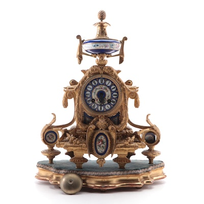 Philippe H. Mourey Gilt Metal and Porcelain Mantel Clock, Late 19th C.