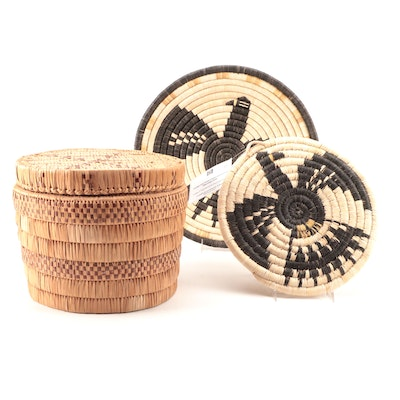 Hopi Coiled Plaques With Eagle Design and Native American Style Lidded Basket