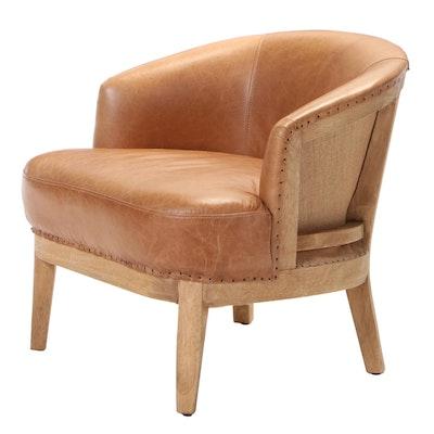 Melange Home Hardwood and Leather Tub Chair