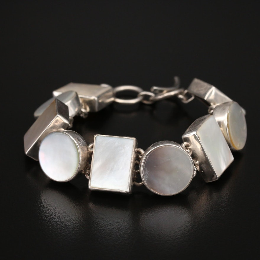 Sterling Mother of Pearl Geometric Link Bracelet