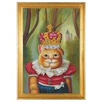 Oil Painting of Anthropomorphic Cat in Crown, 21st Century