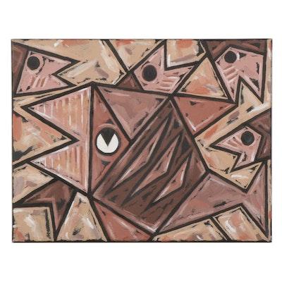 Michael Sweeney Acrylic Painting of Fish, 21st Century
