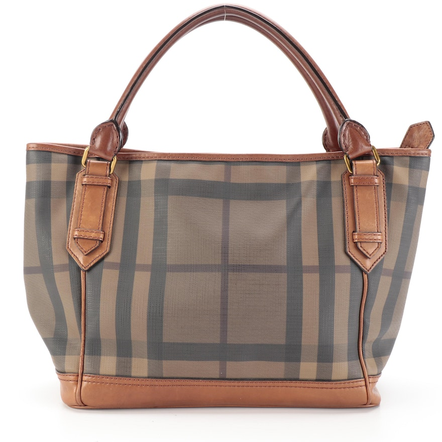 Burberry Tote Bag in Coated Canvas with Leather Trim