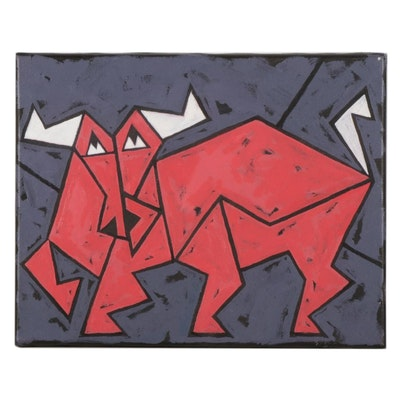 Michael Sweeney Acrylic Painting of Red Bull, 21st Century