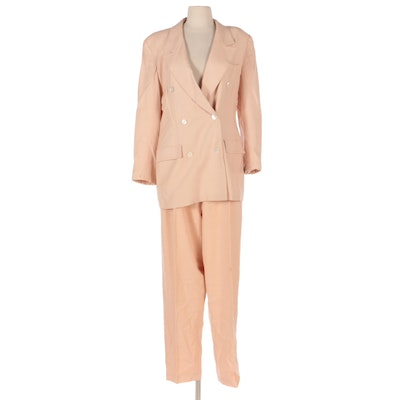 Ports International Double-Breasted Pantsuit in Blush Wool