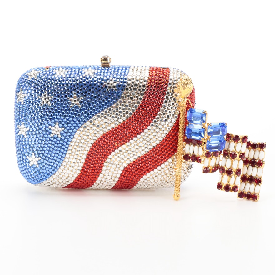 Lawrence Vrba Furled Flag Brooch Pin with Other Embellished Minaudiére