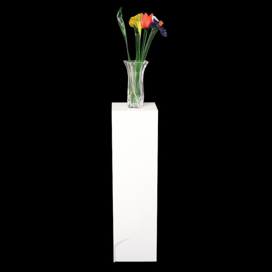 Gilbert Lighted Acrylic Pedestal with Sevres Crystal Vase and Glass Flowers