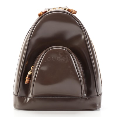 Gucci Brown Patent Leather Sling Bag with Bamboo Zip Pulls