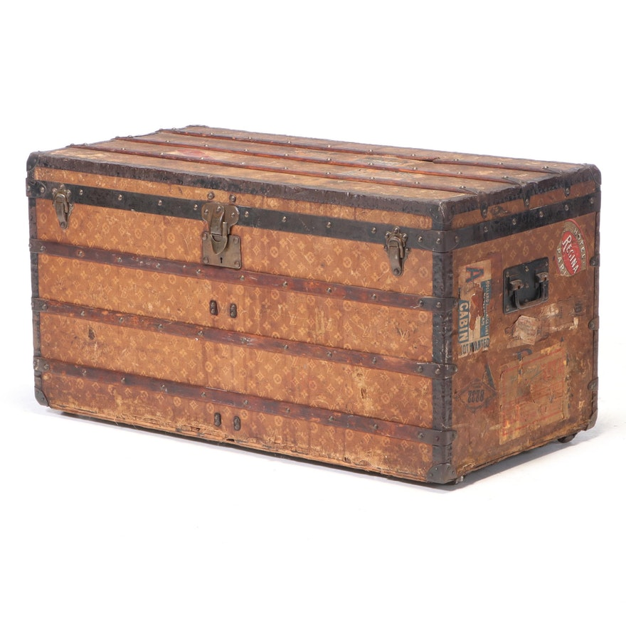 Louis Vuitton Steamer Trunk in Woven Monogram Canvas, Early 20th Century