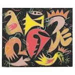 "Michael Sweeney Acrylic Painting ""Bird Dream,"" 21st Century"
