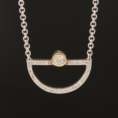 Sterling Diamond Half-Circle Necklace with 10K Accents