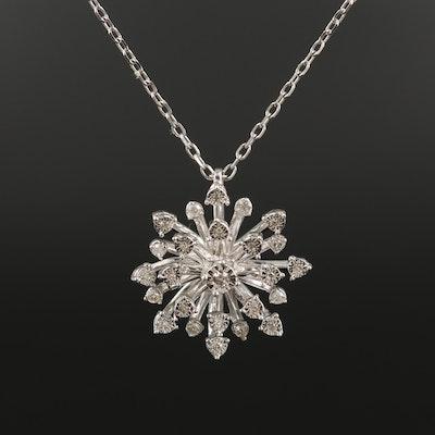 Sterling Diamond Starburst Pendant Necklace