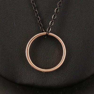 10K Rose Gold Diamond Band on Stainless Steel Chain