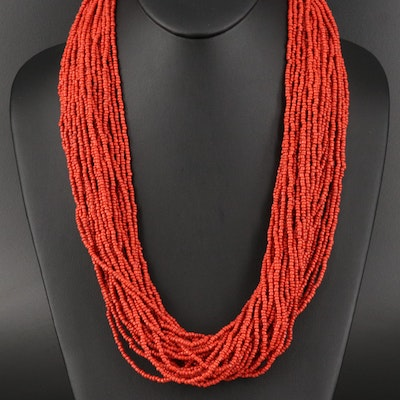 Multi-Strand Coral Beaded Necklace