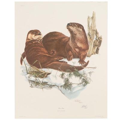 """Richard Timm Offset Lithograph """"River Otter,"""" 1973"""